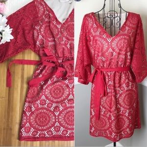 NWT! $108 Chelsea & Violet Red Lace Dress XS